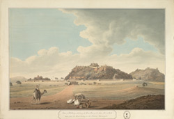 View of Bellary, showing the E. face of the lower fort and rock; a camel and bullock cart in the foreground. Key attached.